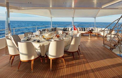 alfresco dining on spacious deck areas aboard superyacht JOY
