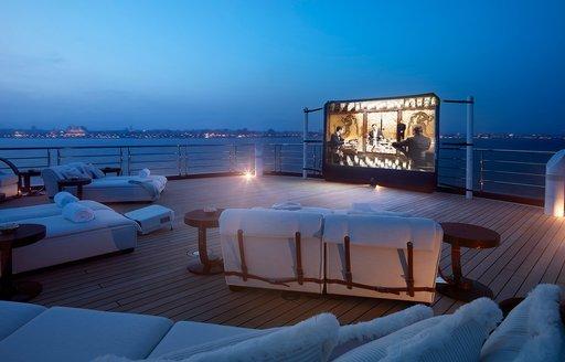 Alfresco cinema set-up on luxury yacht TIS