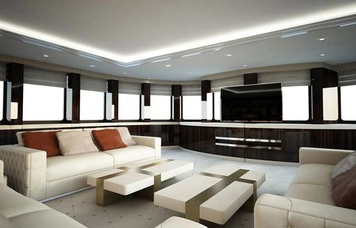SOARING yacht skylounge with television screen and white sofas