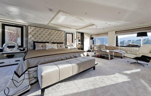 full-beam master suite on board luxury yacht LILI