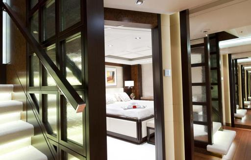 The bedroom for charter guests onboard a luxury yacht