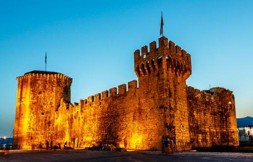 Tower of medieval Kamerlengo fortress in Trogir, Dalmatia, Croatia.