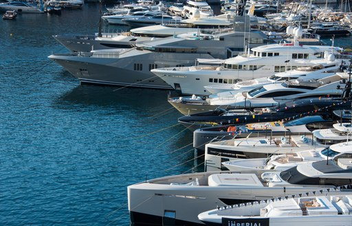 Line-up of yachts at the MYS 2021