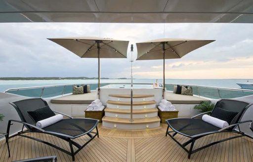 Deck loungers on board LA DEA II