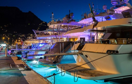 Yachts moored to the docks at marina grande capri