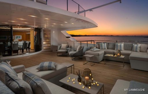 Aft deck socialising areas onboard MY Lammouche