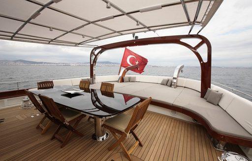 alfresco dining area on deck of luxury gulet Vay