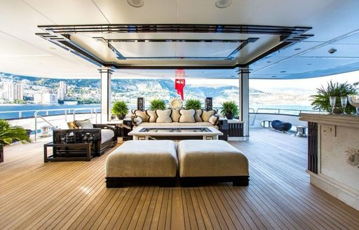The exterior of luxury yacht 'Lioness V'