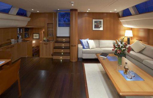 modern and warm interiors aboard sailing yacht SHOGUN