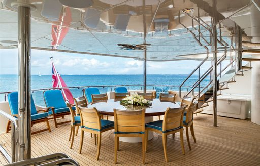 Tredning yacht alfresco dining set-up on aft deck