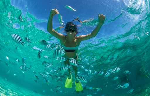 Woman snorkelling in the Bahamas