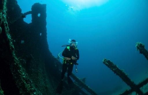 Scuba Diver in Greek Shipwreck