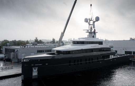 Feadship motor yacht Shinkai leaves Aalsmeer yard