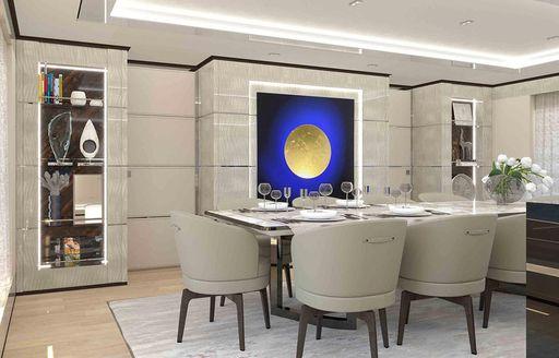 Elegant dining area onboard K2 motor yacht