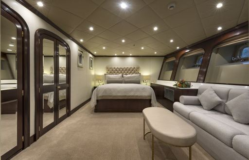 the half beam cabin on the lower deck provides the guests on board charter yacht the wellesley lots of natural light to wake up every day to the glow of the mediterranean sun