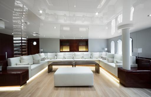 Main salon on board superyacht 'Enigma XK'