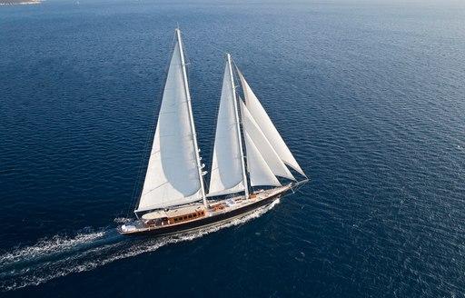 Sailing yacht cruising the deep waters of Greece