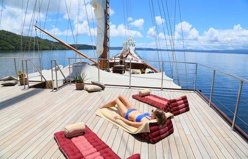 The sundeck of luxury yacht LAMIMA