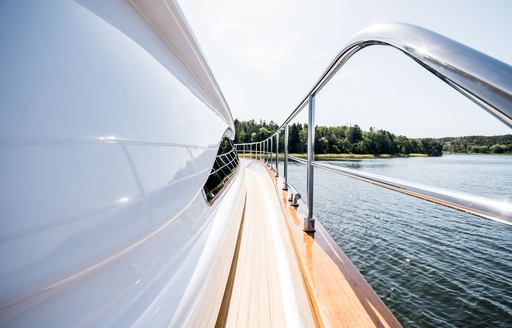 View down side of Superyacht Queen of Sheba