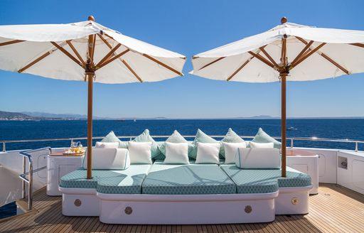 a quiet sunning area aboard the sundeck of luxury yacht CALLISTO