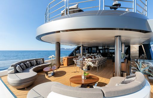 alfresco dining and seating area on board superyacht irisha