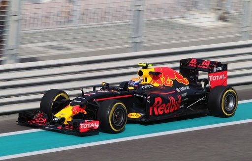 Red Bull driver in action on the Yas Marina Circuit during the Abu Dhabi Grand Prix