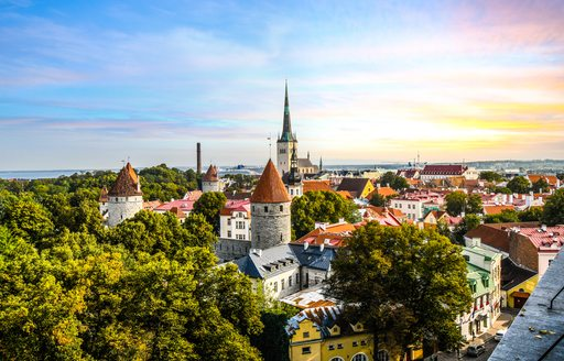 Late afternoon sunset view overlooking the medieval walled city of Tallinn Estonia