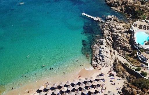 Super paradise beach, cyclades aerial view