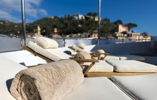 the best place to catch some mediteranean sun is on the sundeck of charter yacht the wellington wher eguests can unwind as they cruise in mallorca