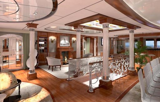 A visual rendering of the unique interior on board expedition yacht LEGEND