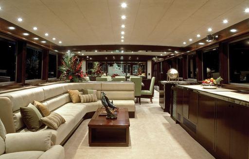 mahogany main salon on board superyacht 'Emerald Lady'