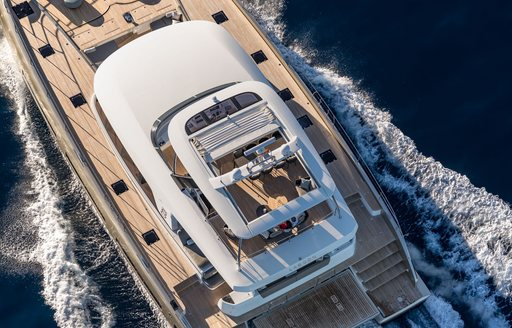 Aerial image of superyacht Doube Down with sun deck