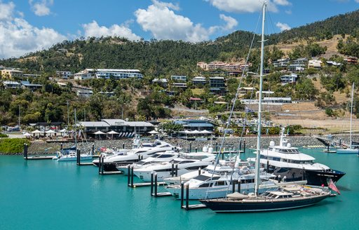 Yachts in port at luxury marina in the Whitsundays