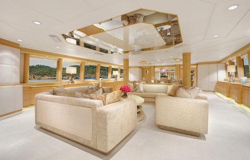 Main salon on the luxury yacht AZZURRA II