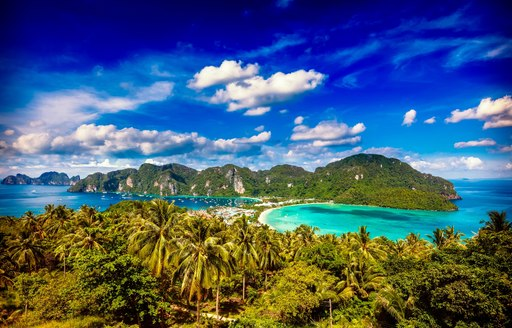 view over two bays in Phi Phi Island, Phuket, Thailand