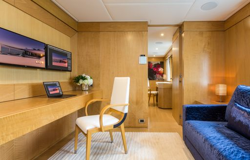 Sofa and private lounge on Superyacht BACA