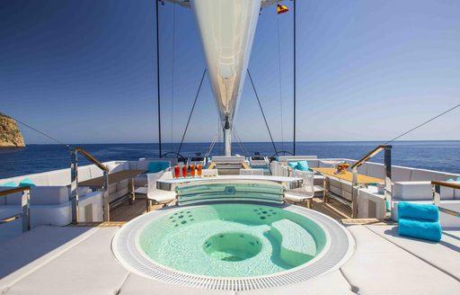 Jacuzzi on sundeck of luxury yacht AQUIJO