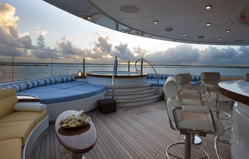 superyacht OASIS deck jacuzzi and bar area