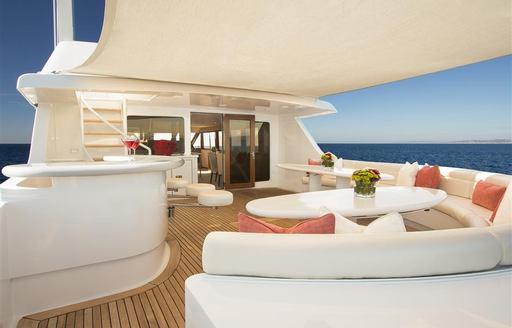 motor yacht TALOS's deck seating area