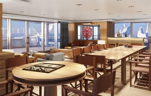 A graphic rendering of a long table inside the superyacht 'Planet Nine'
