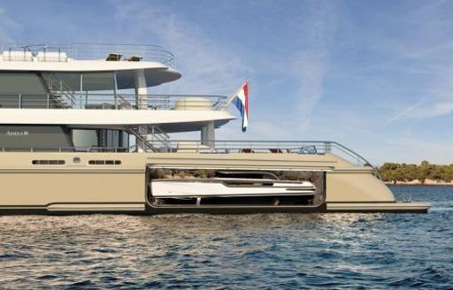 tender garage on the aft of motor yacht synthesis