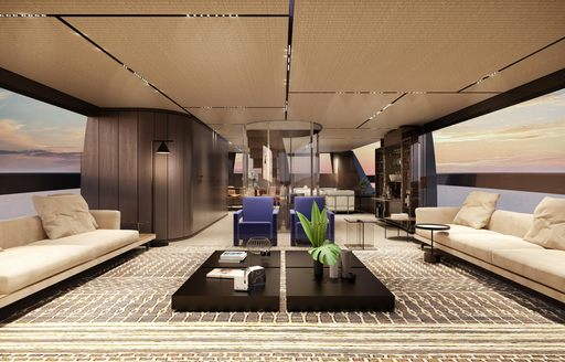 Elegant interiors on  Sanlorenzo superyacht ALMAX with comfortable seating at edges and table central