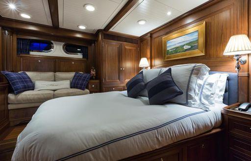 The master cabin on board luxury sailing yacht MARAE
