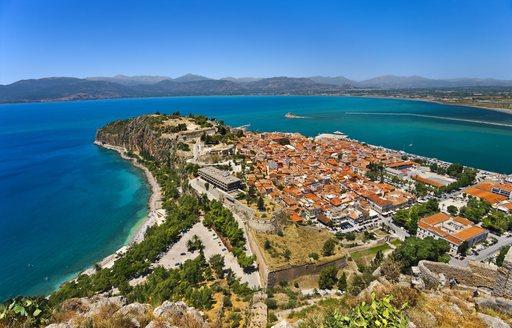 overhead of the beautiful Nafplio coastline