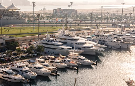 superyachts berth in Yas Marina for the Abu Dhabi Grand Prix