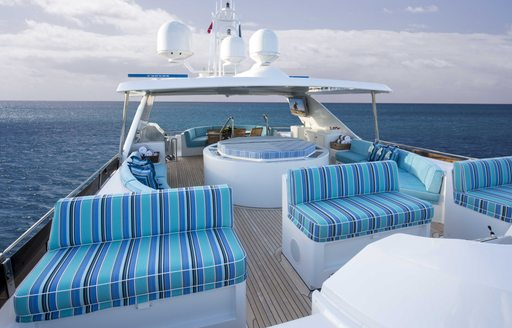 seating and Jacuzzi on sundeck of charter yacht 'Lady Bee'