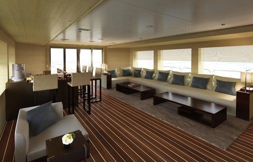 rendering of the upper salon with bar and lounge areas aboard charter yacht CHASSEUR