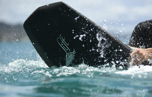 Close up of a foiling board in the water