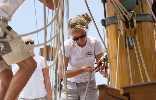 crew at work participating in the Superyacht Cup Palma in Mallorca