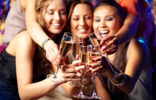 charter guests celebrate New Year's Eve with champagne
